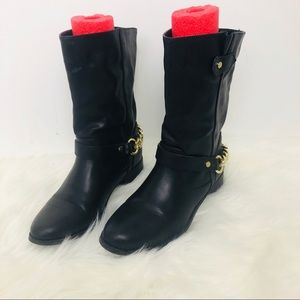 Express black leather Moto boots size 7